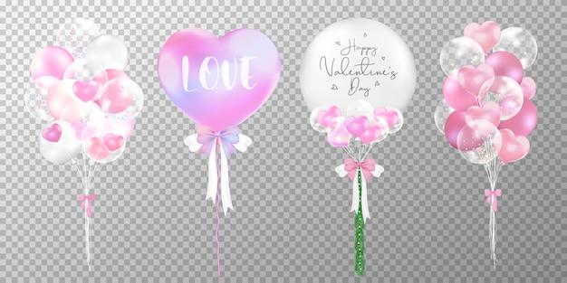 Zestaw różowy i biały balon na walentynki na białym tle