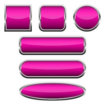 Zestaw różowych błyszczących przycisków. ilustracji wektorowych.