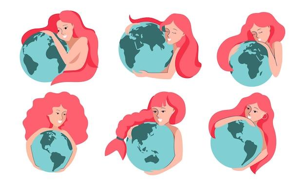 Zestaw Różowych Dziewczyn I Planet. Kobieta Z Kolekcji Przytulająca Ziemię Jest Dobra Dla Ratowania Planety, Projektów Logo Itp. Ilustracja Wektorowa Premium Wektorów