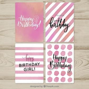 Zestaw różowych kartek urodzinowych akwarela