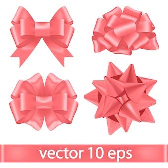Zestaw różowych wstążek przewiązanych bujnymi kokardkami