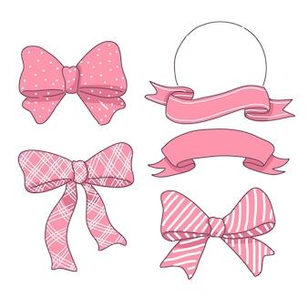Zestaw różowych wstążek