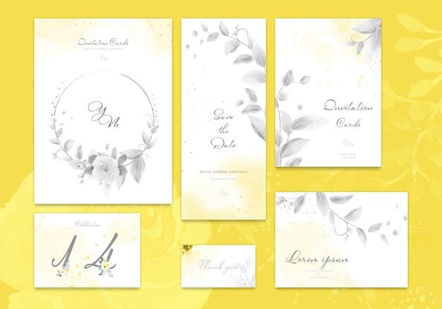Zestaw rozświetlającej żółtej i szarej karty zaproszenia ślubne z kwiatową różą, liśćmi akwarela.