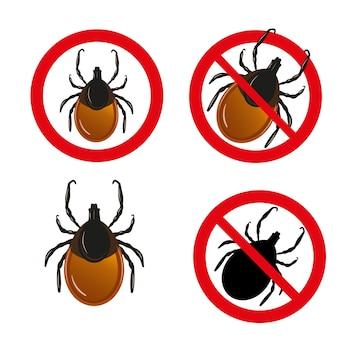 Zestaw roztoczy. wektor zestaw kleszczy pasożytów owadów. znaki ostrzegawcze kleszczowego zapalenia mózgu
