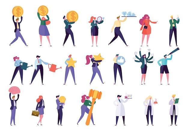 Zestaw rozwoju kariery różnych osób zawodu. pracownik ciężko pracuje na sukces w działalności zawodowej. menedżer różnych postaci, naukowiec, jubiler, ogrodnik. ilustracja wektorowa płaski kreskówka