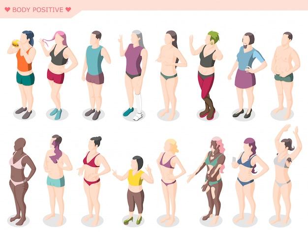 Zestaw ruchów pozytywnych i różnorodności ciała
