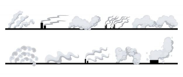 Zestaw rur fabrycznych lub elektrowni zanieczyszcza powietrze. dym z rur. ilustracja w stylu płaski na białym tle