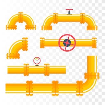 Zestaw rurociągów. żółte rury gazowe i olejowe.
