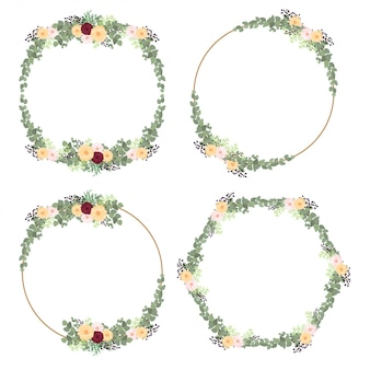 Zestaw rustykalnych dekoracji ramek z kwiatów i liści
