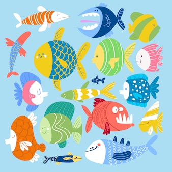 Zestaw ryb w stylu kreskówki