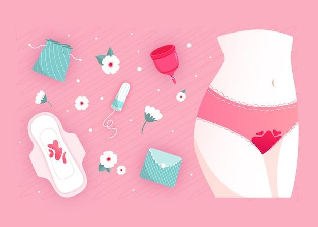 Zestaw rysowanych produktów higieny kobiecej