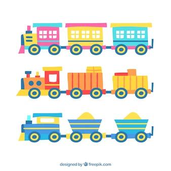 Zestaw rysowanych ręcznie kolorowych pociągów zabawek