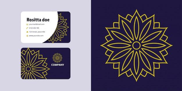 Zestaw rysunków i wizytówek mandali. marka logo monoline