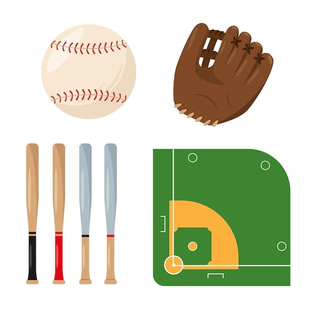 Zestaw rysunków kreskówek sprzętu baseballowego