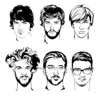 Zestaw rysunków mężczyzn z inną fryzurę ilustracja na białym tle. facet w okularach, brodzie, wąsach. sylwetki ludzi