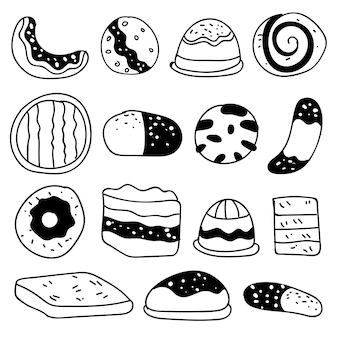 Zestaw rysunków na temat ciast. ciasta, torty, chleb, herbatniki i inne wyroby cukiernicze. ilustracja wektorowa