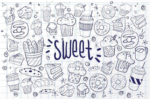 Zestaw rysunków na temat ciast. ciasta, torty, chleb, herbatniki, słodycze i inne wyroby cukiernicze. ilustracja wektorowa