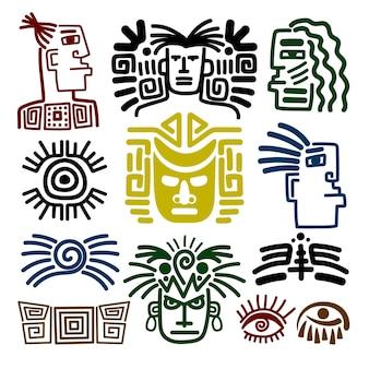 Zestaw rysunków plemiennych twarzy. rdzenni indyjscy wojownicy indyjscy na białym tle