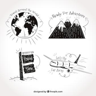Zestaw rysunków podróży zawierających frazy
