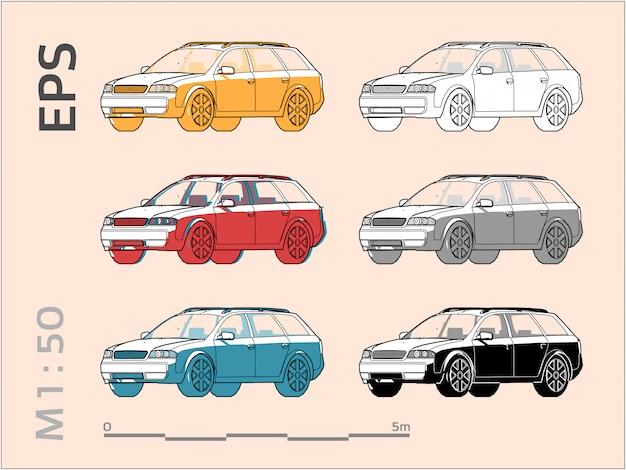 Zestaw rysunków samochodowych w różnych kolorach, widok z boku