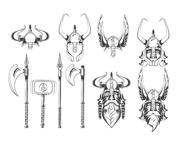 Zestaw rysunków wojowników wikingów