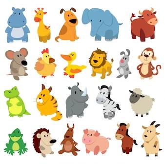 Zestaw rysunków zwierząt.