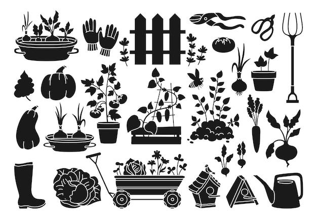 Zestaw rysunkowy z czarnym glifem ogrodowym warzywa rosnące w doniczce rustykalne ogrodzenie kalosze widły i rękawiczki sekatory wózek ogrodowy ptaszarnia konewka