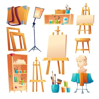 Zestaw rzeczy do pracowni artystycznej w klasie