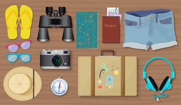 Zestaw rzeczy do zwiedzania podróży i zestaw narzędzi.