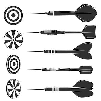 Zestaw rzutek do gry w rzutki. elementy projektu logo, etykiety, godła, znak, znak marki.