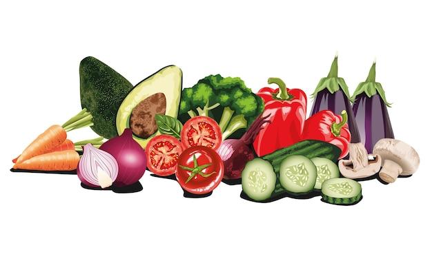 Zestaw sałatek ze świeżych warzyw