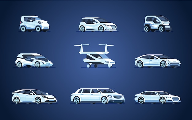 Zestaw samochodów autonomicznych. pojazd bez kierowcy.