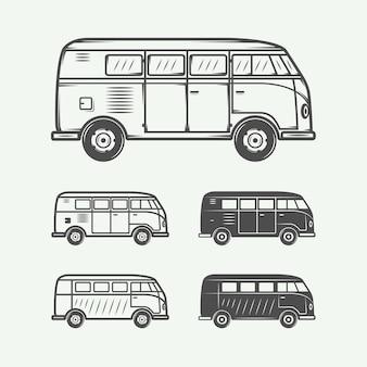 Zestaw samochodów dostawczych retro vintage. grafika. ilustracja wektorowa.