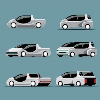 Zestaw samochodów hi-tech w nowoczesnym stylu, różniących się kolorystyką i wzornictwem na białym tle