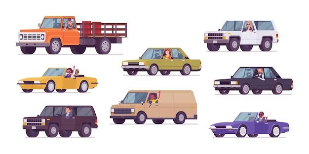 Zestaw samochodów i kierowców, transport biznesowy i wycieczka miejska