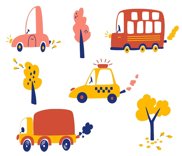 Zestaw samochodów kreskówek. różne samochody, ciężarówka, samochód osobowy, taksówka, autobus turystyczny i jesienne drzewa. transport miejski. do projektowania pokojów dziecięcych, odzieży, tekstyliów. ilustracja wektorowa w stylu płaski