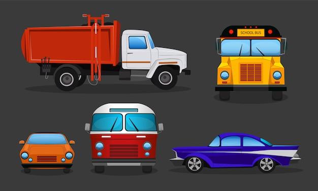 Zestaw samochodów kreskówkowych - transport publiczny lub pojazdy prywatne.