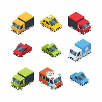 Zestaw samochodów miejskich stylu izometrycznym kreskówek