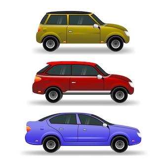 Zestaw samochodów. miejskie, miejskie samochody i pojazdy transportują płaskie ikony. łatwe do edycji i ponownego kolorowania.