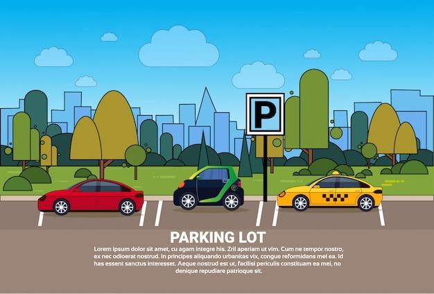 Zestaw samochodów na parkingu miasta na tle budynków sylwetka