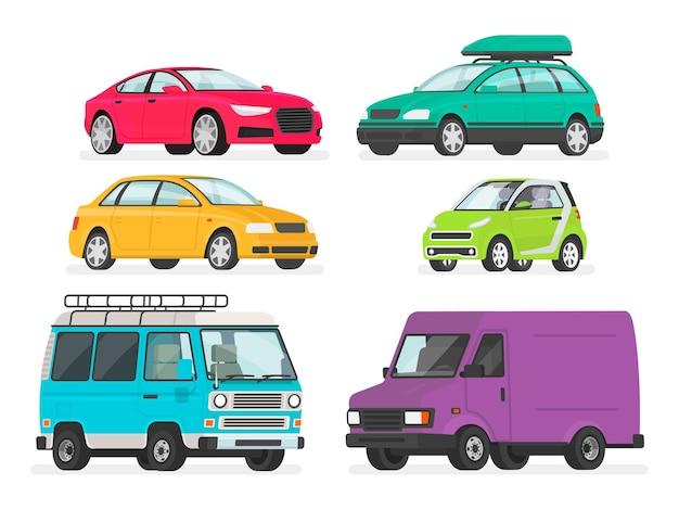 Zestaw samochodów. pojazdy, samochód sportowy, sedan, kombi, samochód elektryczny, minivan, ciężarówka.