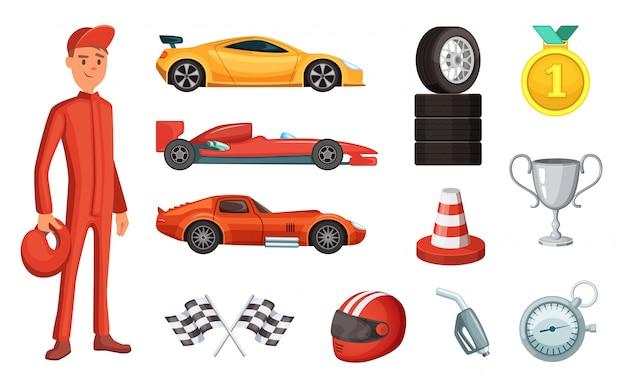 Zestaw samochodów sportowych i różnych ikon wyścigowych. silnik, kask, silnik i inne symbole formuły
