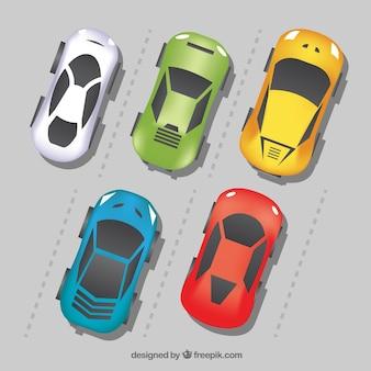 Zestaw samochodów sportowych w płaskiej konstrukcji