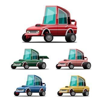 Zestaw samochodów sportowych w stylu cartoon na białym tle