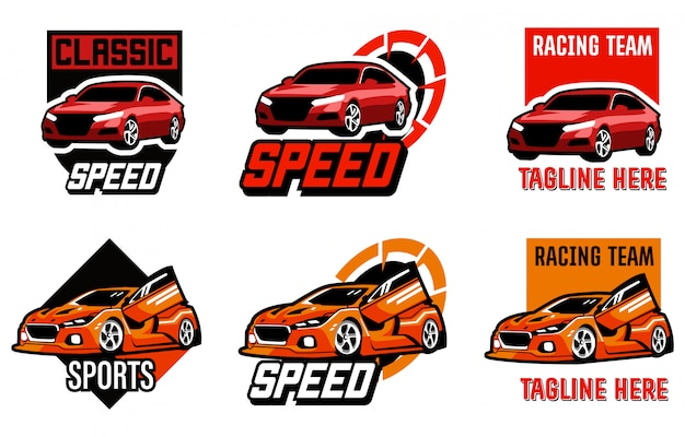 Zestaw samochodów, szablon logo motoryzacyjny