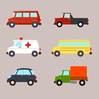 Zestaw samochodów w płaskiej konstrukcji