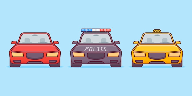 Zestaw samochodów w stylu płaskiej linii. samochody sportowe, policyjne i taksówki.