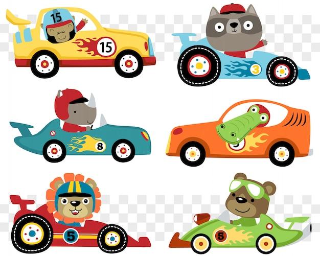 Zestaw samochodów wyścigowych kreskówki z zabawnym zawodnikiem