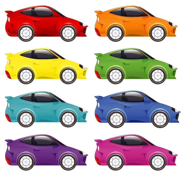 Zestaw samochodów wyścigowych w różnych kolorach