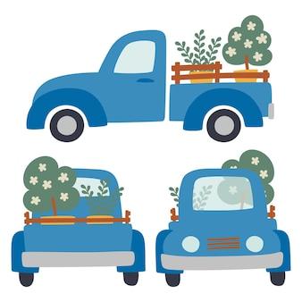 Zestaw samochodów z przyczepą i wektorem ładunku. maszyny rolnicze do transportu i transportu produktów. koncepcja sadzenia drzew i roślin.